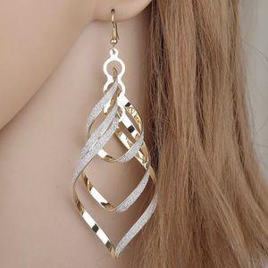 Gold Spiral Dangle Drop Earrings